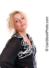 Beautiful woman in her 30's isolated over white background