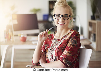 Beautiful woman in her office