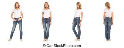 Beautiful woman in jeans