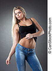 Beautiful woman in jeans