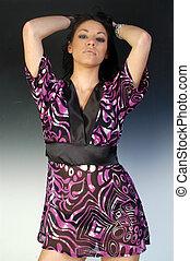 Beautiful Woman in Kimono purple