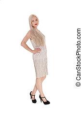 Beautiful woman in light gray evening dress
