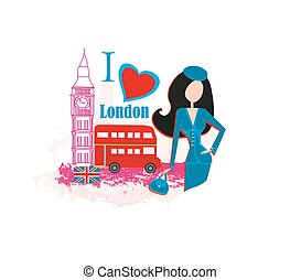 Beautiful woman in London , abstract card