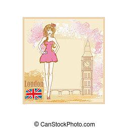 Beautiful woman in London card