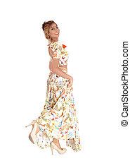 Beautiful woman in long dress.