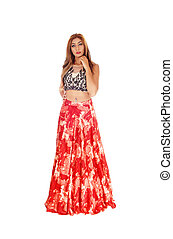 Beautiful woman in long red skirt