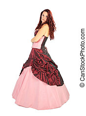 Beautiful woman in luxurious dress with crinoline
