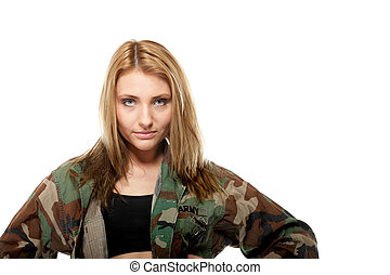 Beautiful woman in military clothes.