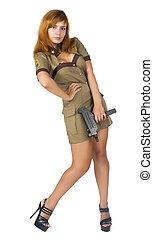 beautiful woman in military uniform