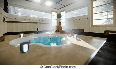 Beautiful woman in modern bathroom interior with jacuzzi and wine, tilt