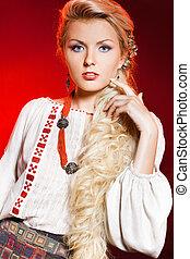 beautiful woman in national costume
