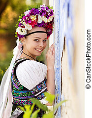 Beautiful woman in national folk costume