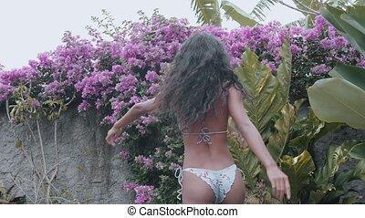 Beautiful woman in outdoor pool - Beautiful sexy lady in...