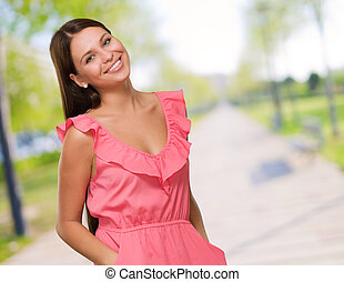 Beautiful Woman In Pink Dress