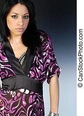 Beautiful Woman in purple kimono