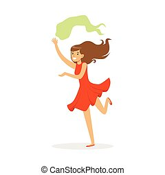 Beautiful woman in red dress dancing traditional Indian dance colorful character vector Illustration