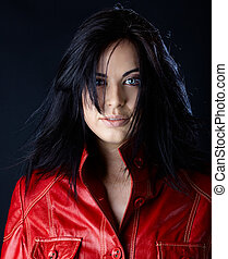 woman in red leather jacket