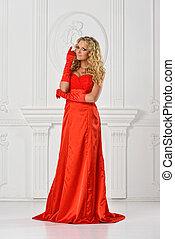 beautiful woman in red long dress.