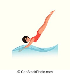Beautiful woman in red swimsuit diving into the water, water sport activity vector Illustration on a white background