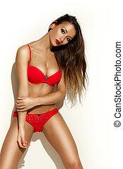 Beautiful woman in red underwear