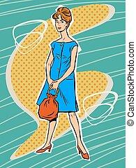 Beautiful woman in retro dress