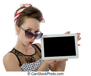 beautiful woman in retro style holding tablet