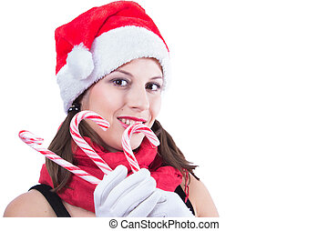 Beautiful woman in Santa Claus clothes over white background.