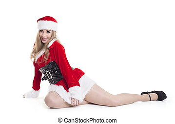 Beautiful Woman In Santa Costume