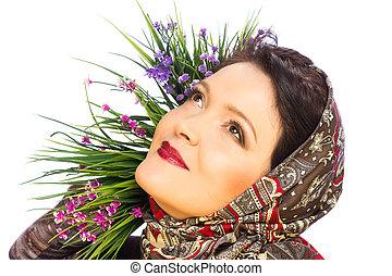 Beautiful woman in shawl
