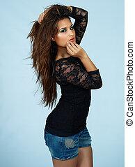 beautiful woman in shorts