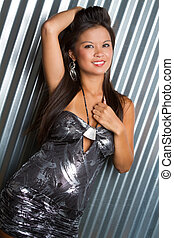 Beautiful Woman in Silver Dress