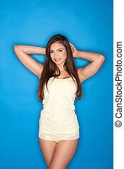 Beautiful woman in skimpy shorts