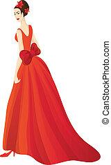 Beautiful woman in splendid red dress. Eps 10