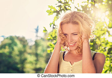 Beautiful woman in summer nature - Attractive young woman...