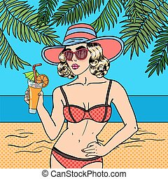 Beautiful Woman in Swimsuit with Cocktail on the Beach. Pop Art. Vector illustration