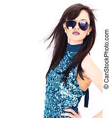 Beautiful woman in the black fashion sunglasses