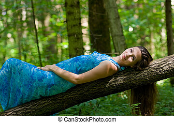beautiful woman in the forest