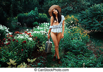 beautiful woman in the garden