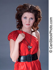 woman in vintage red dress