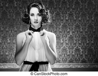 Beautiful woman in vintage room toned image - Beautiful...