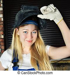Beautiful Woman in Welder - beautiful smiling blond woman in...