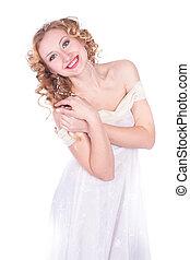 beautiful woman in white dress