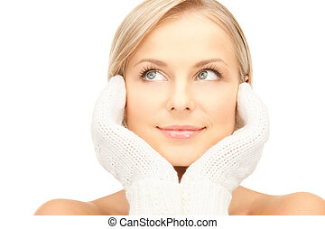 beautiful woman in white mittens - picture of beautiful...
