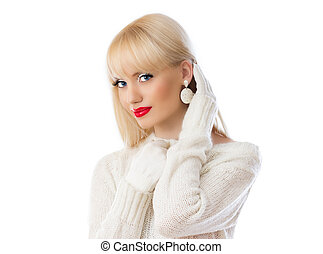 Beautiful woman in white sweater with red lips