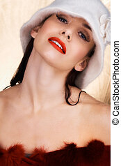 beautiful woman in white winter hat