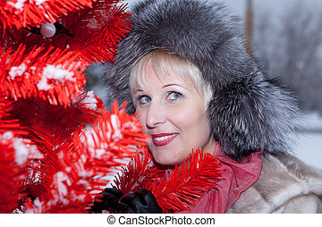 beautiful woman in winter fur hat