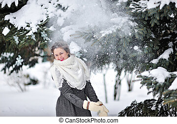 beautiful woman in winter mittens
