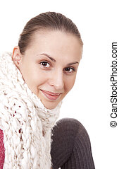 Beautiful woman in winter scarf - Beautiful young woman in...