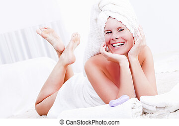Beautiful woman is relaxing in the