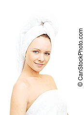 Beautiful woman isolated on white - spa and bath